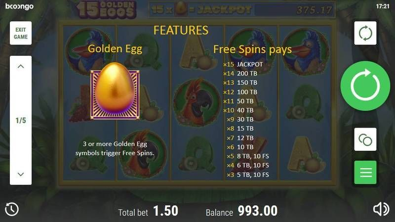 15 Golden Eggs Booongo Slot Free Spins Feature