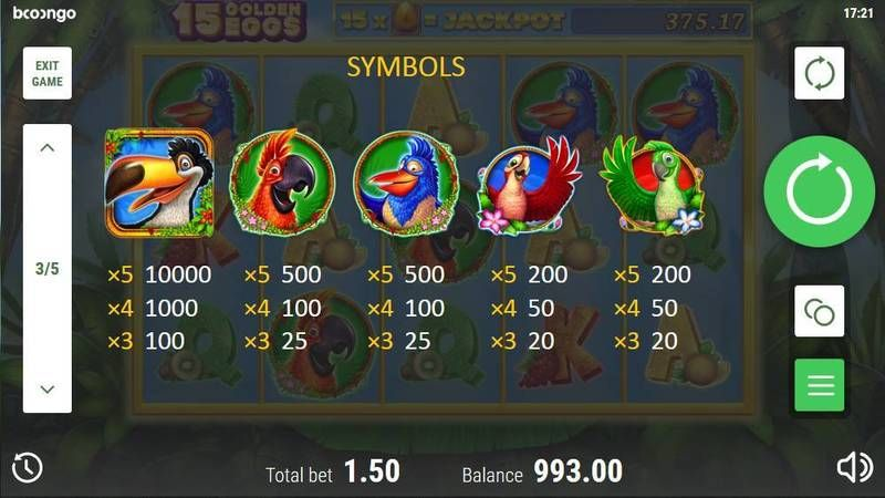 15 Golden Eggs Booongo Slot Paytable