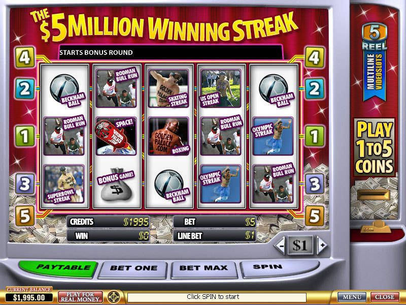 5 Million Winning Streak PlayTech Slot Slot Reels