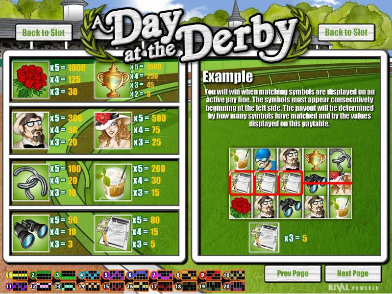 A Day at the Derby Rival Slot Info