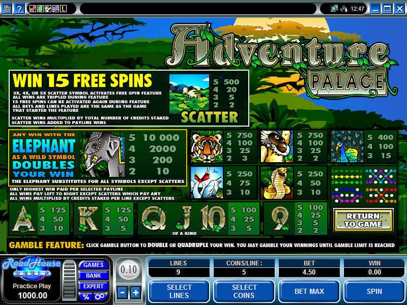 Adventure Palace Microgaming Slot Info