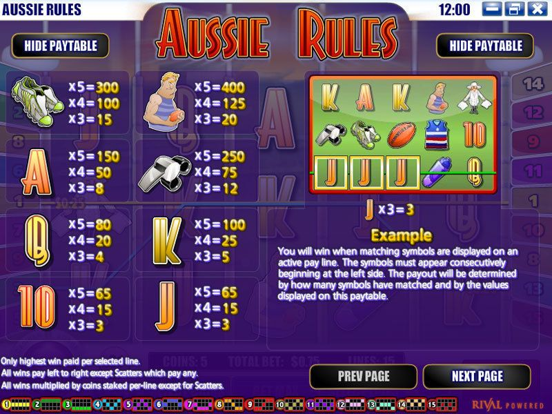 Aussie Rules Rival Slot Info