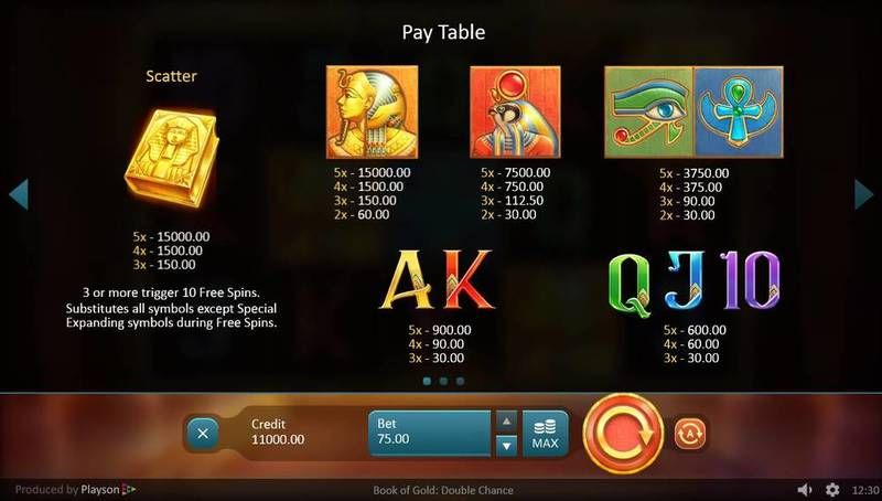 Book of Gold: Double Chance Playsoft Slot Paytable