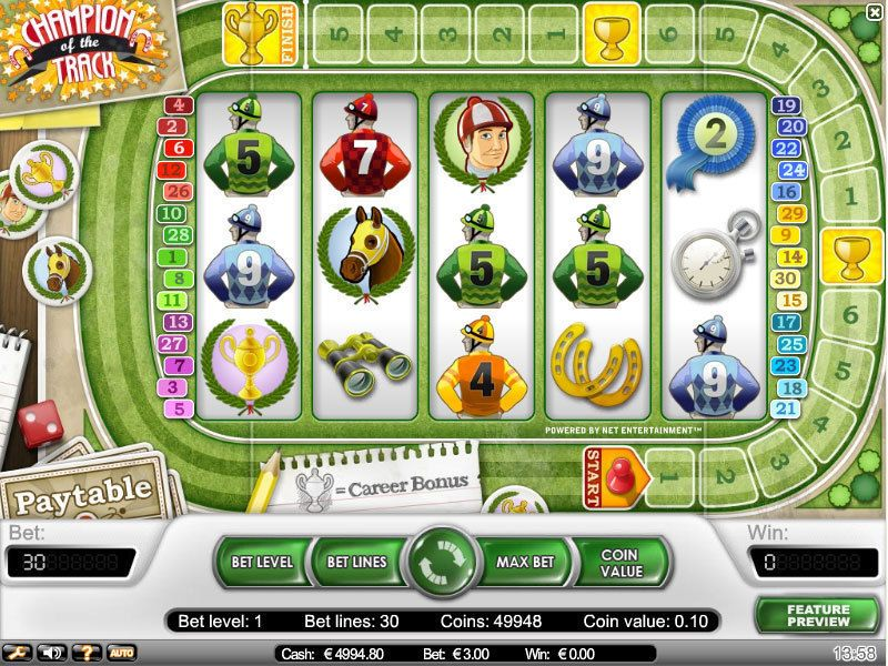 Champion of the Track NetEnt Slot Slot Reels