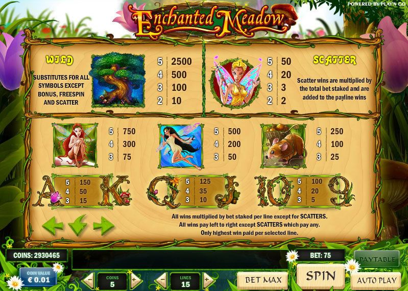 Enchanted Meadow Play'n GO Slot Info