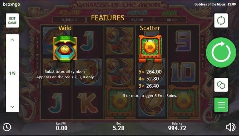 Goddes of the Moon Booongo Slot Free Spins Feature