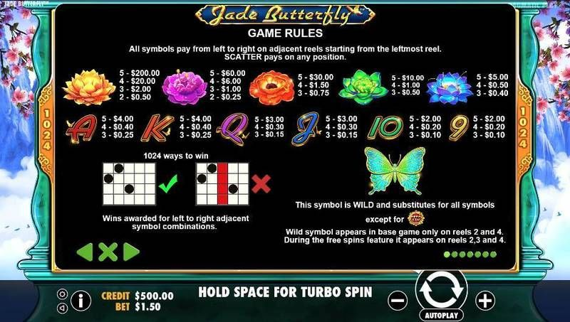 Jade Butterfly Pragmatic Play Slot Paytable