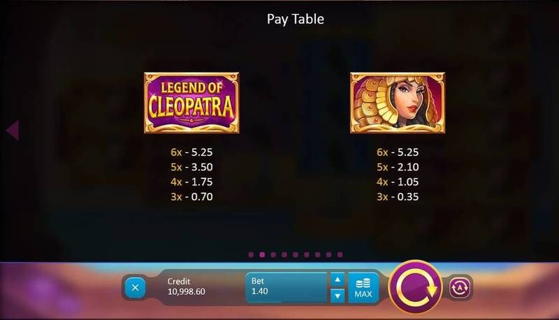 Legend of Cleopatra Playson Slot Paytable