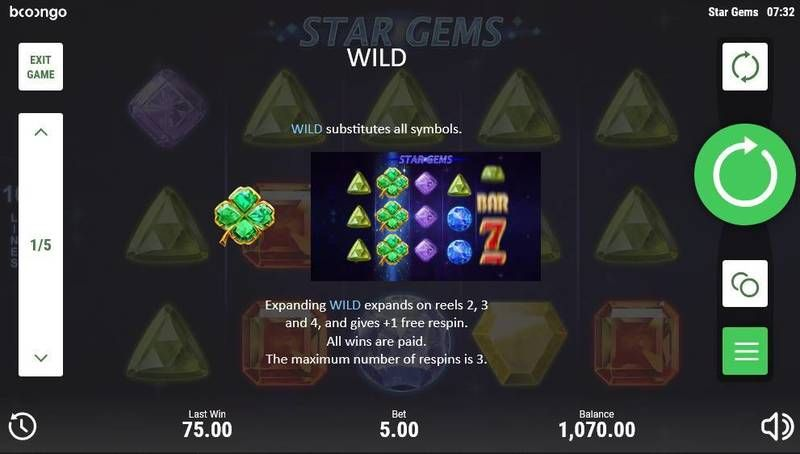 Star Gems Booongo Slot Paytable