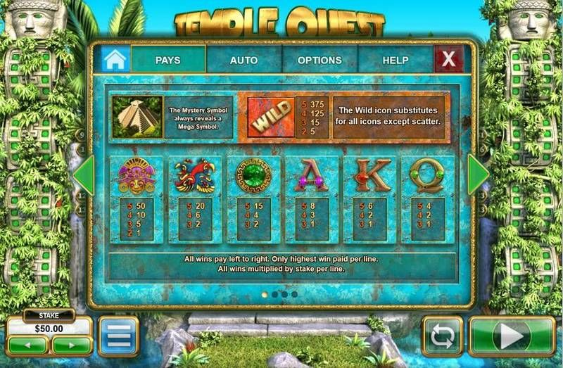 Temple Quest Spinfinity Big Time Gaming Slot Paytable